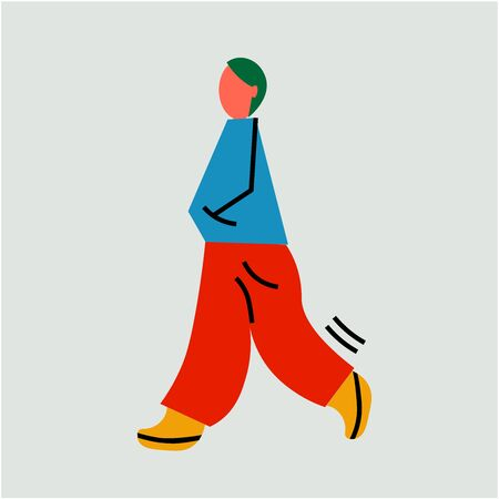 Abstract character goes for a walk. Man or woman illustration. Digital minimalist art with human 向量圖像