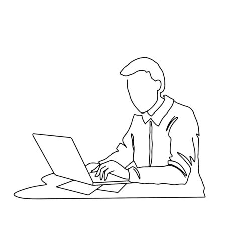Young man sitting with computer. Freelance worker, businessman character concept. Continuous line art