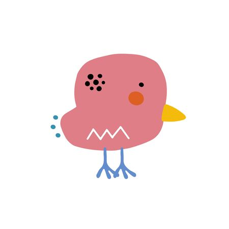Chicken character design. Cute cartoon animal vector illustration. Abstract icon for baby posters, art prints, fashion apparel or stickers. Bird logo