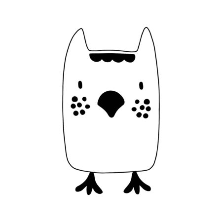 Owl character design. Cute cartoon animal vector illustration. Abstract icon for baby posters, art prints, fashion apparel or stickers. Bird logo Illustration