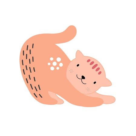 Cat or kitten character design. Cute cartoon animal vector illustration. Abstract icon for baby posters, art prints, fashion apparel or stickers.