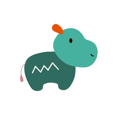 Hippopotamus character design. Cute cartoon animal vector illustration. Abstract icon for baby posters, art prints, fashion apparel or stickers.