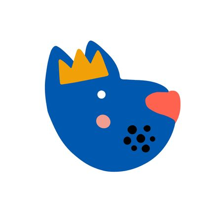 Dog character design. Cute cartoon animal vector illustration. Abstract icon for baby posters, art prints, fashion apparel or stickers.