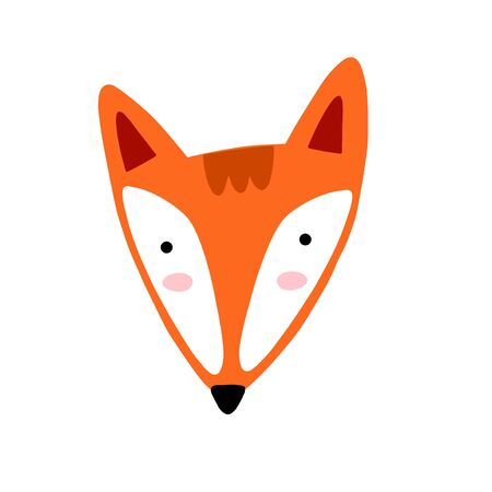 Fox character illustration. Cute cartoon animal vector illustration. Abstract icon for baby posters, art prints, fashion apparel or stickers.