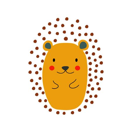 Hedgehog character design. Cute cartoon animal vector illustration. Abstract icon for baby posters, art prints, fashion apparel or stickers. Illustration