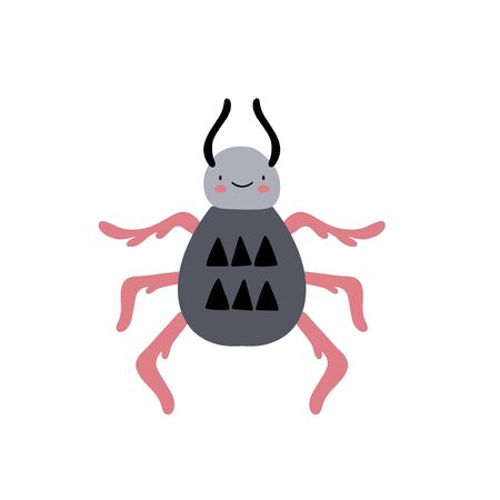 Insect spider or beetle character design. Cute cartoon animal vector illustration. Abstract icon for baby posters, art prints, fashion apparel or stickers. Illustration