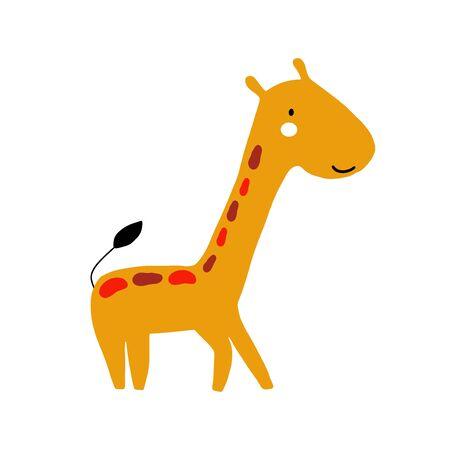 Diseño de personajes Jirafa. Ilustración de vector de animales de dibujos animados lindo. Icono abstracto para carteles de bebé, impresiones artísticas, ropa de moda o pegatinas.