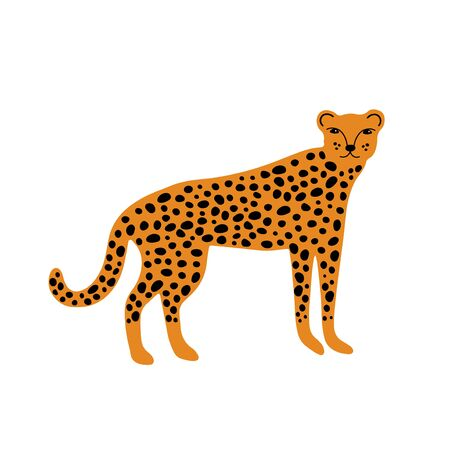 Leopard or cheetah character design. Cute cartoon animal vector illustration. Abstract icon for baby posters, art prints, fashion apparel or stickers.