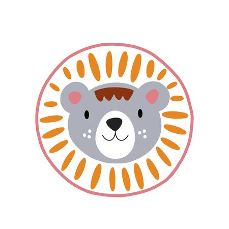 Lion or tiger character design. Cute cartoon animal vector illustration. Abstract icon for baby posters, art prints, fashion apparel or stickers.
