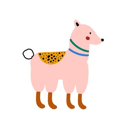 Llama or alpaca character design. Cute cartoon animal vector illustration. Abstract icon for baby posters, art prints, fashion apparel or stickers. Illustration