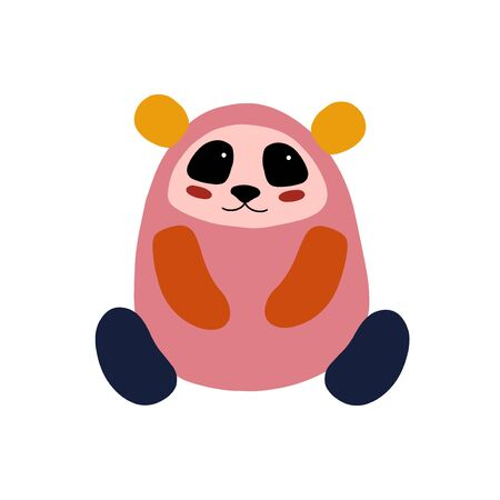 Panda character design. Cute cartoon animal vector illustration. Abstract icon for baby posters, art prints, fashion apparel or stickers.
