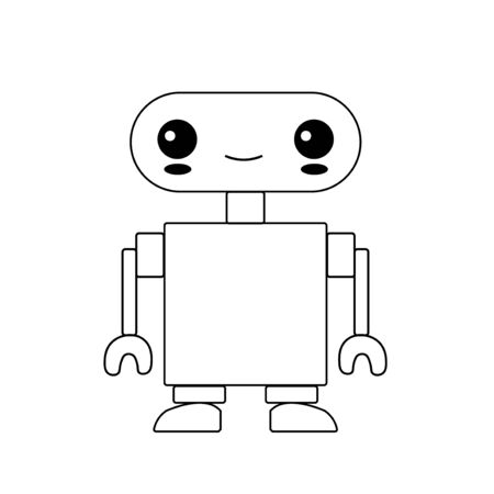 Robot character design. Cute cartoon animal vector illustration. Abstract icon for baby posters, art prints, fashion apparel or stickers.