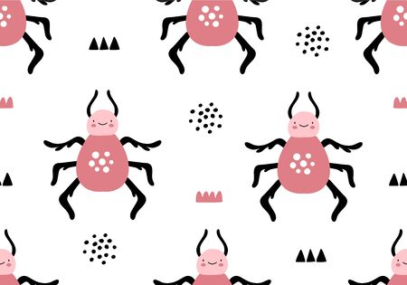 Cartoon animal pattern with insects, bug or beetle background. Vector digital paper