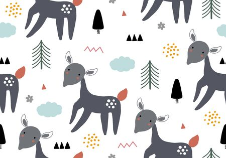 Animal baby pattern with deer. Vector background with wild animals Vektorové ilustrace