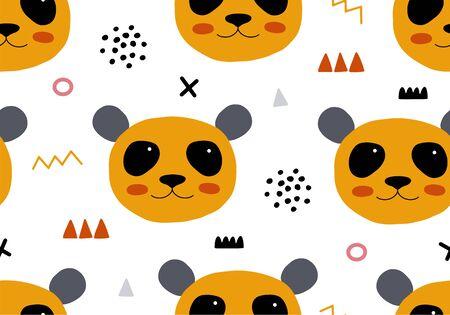 Seamless pattern with panda. Animal backround for babies Vektorové ilustrace