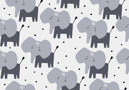 Elephant seamless pattern. Animal jungle baby vector background Иллюстрация