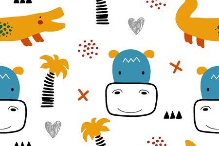Cartoon baby pattern with animals. Abstract nursery background, vector illusttarion
