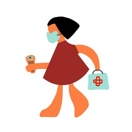 Woman, doctor goes with coffee. Abstract moderm art