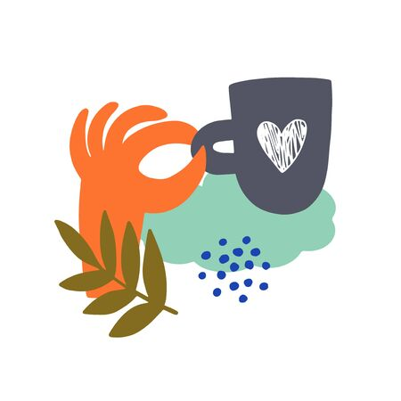 Abstract illustration with hand and coffee cup. Vector simple modern art
