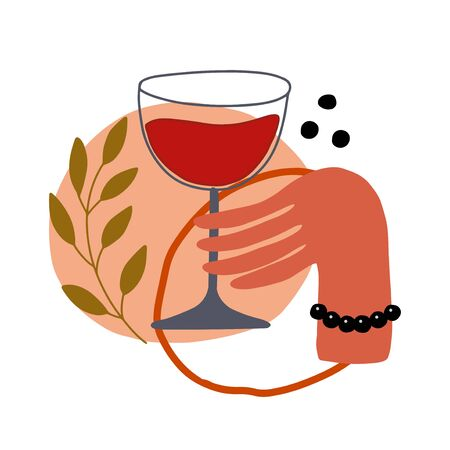 Abstract illustration with hand and red wine glass. Vector simple modern art
