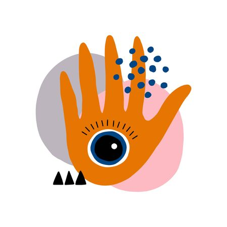 Hand with eye abstract illustration. Modern vector art