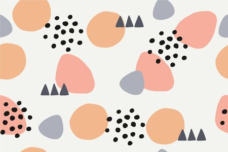 Abstract pattern with different shapes and forms. Seamless vector background Ilustração