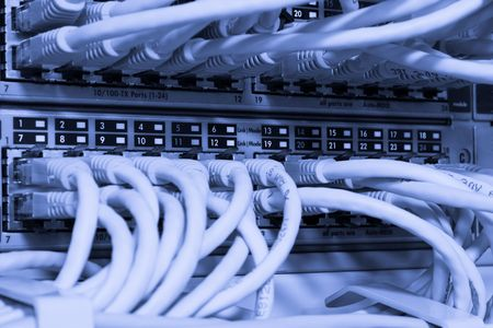 Toned image of network cables connected to switch Stock Photo - 4599644