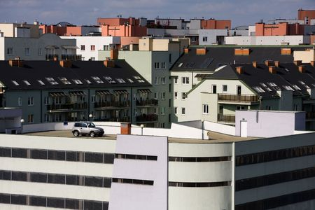 Single car on parking located on the roof of building Stock Photo - 4599654