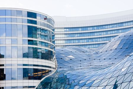 warsaw: Blue modern office buildings made of glass and steel