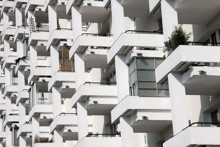 Row of balconnies in modern block of flats. Stock Photo - 4845551
