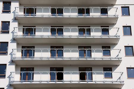 block of flats: Balconies in a modern block of flats. Stock Photo