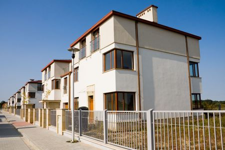 Row of new small houses in suburb Stock Photo - 6304575