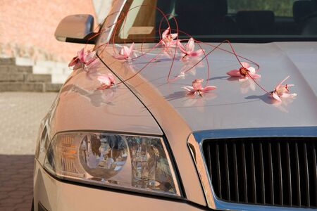 Wedding car decorated by flowers  photo