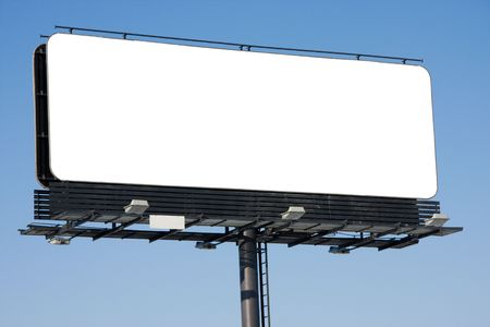 Blank billboard on blue sky ready for your advertisement photo
