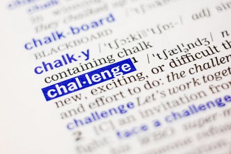 thesaurus: Dictionary definition of word challange in blue color