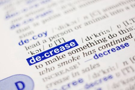 losing knowledge: Dictionary definition of word decrease in blue color