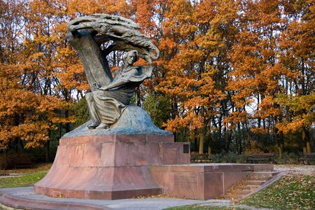 lazienki: Fall in Lazienki park with monument of Chopin. Warsaw, Poland. Stock Photo