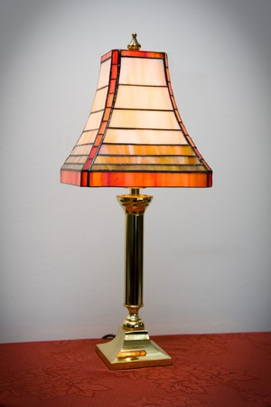 lamp shade: Retro stained glass lamp on a table