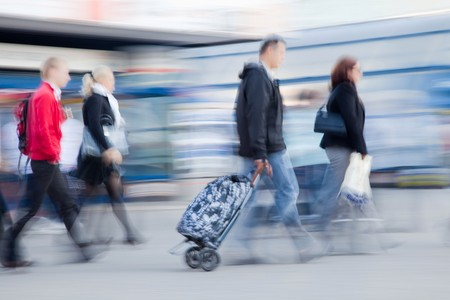 Blurred image of people rushing to work in the morning Stock Photo - 7967682