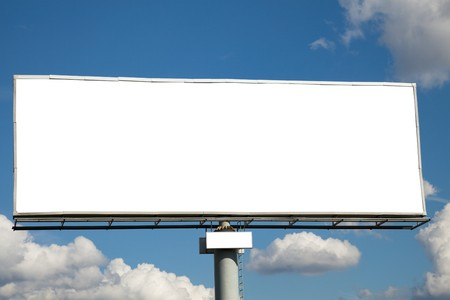 blank billboard: Blank billboard on blue sky for your advertisement Stock Photo