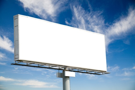 billboard background: Blank billboard on blue sky with cluds for your advertisement