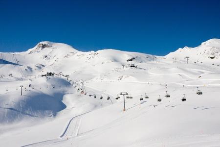 Ski lift under high mountains. Kaprun, Austria. Stock Photo - 8412532