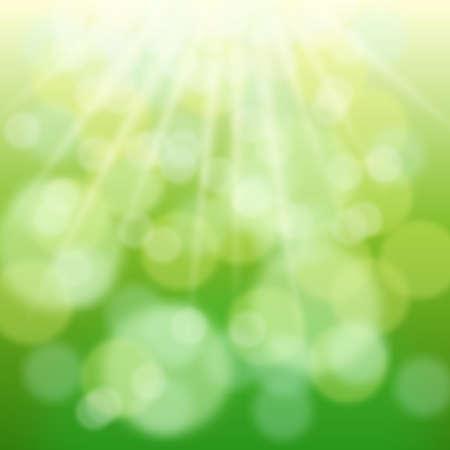 Vigas de bokeh y sol verdes en primavera. Fondo borrosa  Foto de archivo