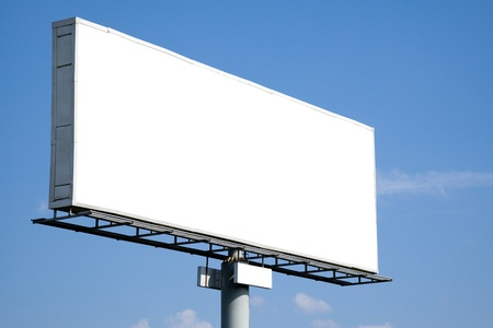 Blank billboard on blue sky for your advertisement photo
