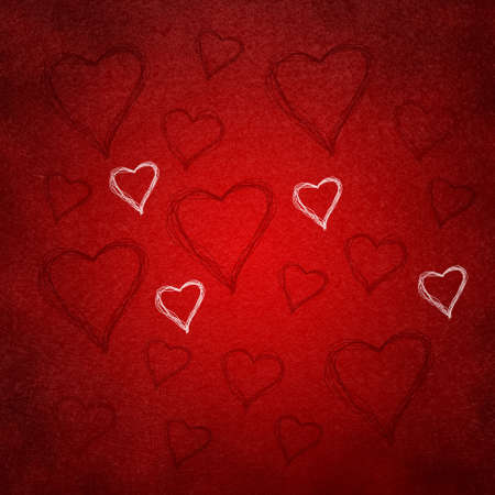 greeting: Valentines background of red and white hearts on old felt Stock Photo