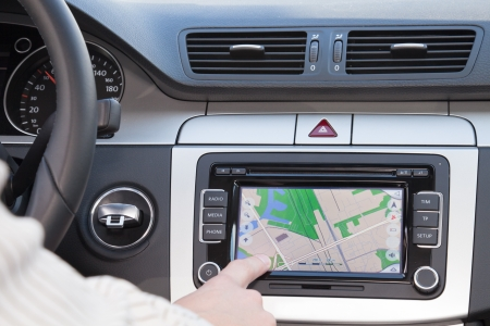 car navigation: GPS navagation in interior of luxury car