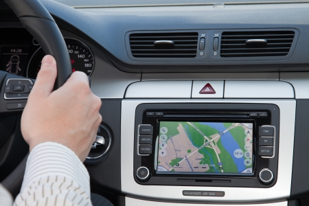 gps navigation: Navagation GPS en el interior del coche de lujo Foto de archivo