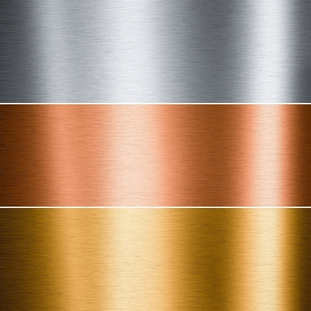 Brushed aluminum copper and gold plates useful for backgrounds photo