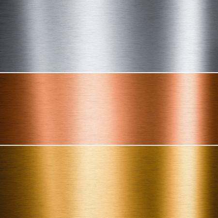 polished: Placas de cobre y oro de aluminio cepillado �tiles para fondos Foto de archivo