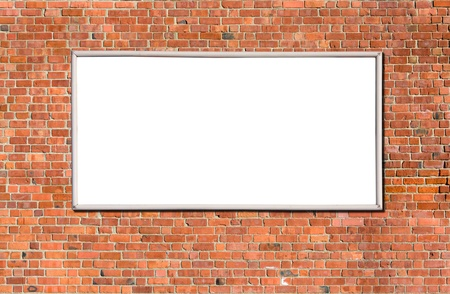 Blank billboard on brick wall for your advertisement photo
